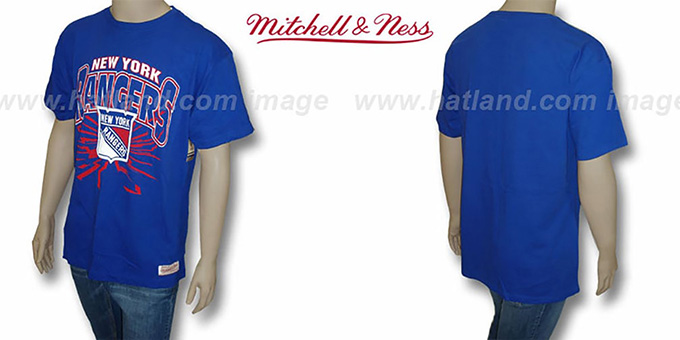NY Rangers 'EARTHQUAKE' Royal T-Shirt by Mitchell & Ness : pictured without stickers that these products are shipped with
