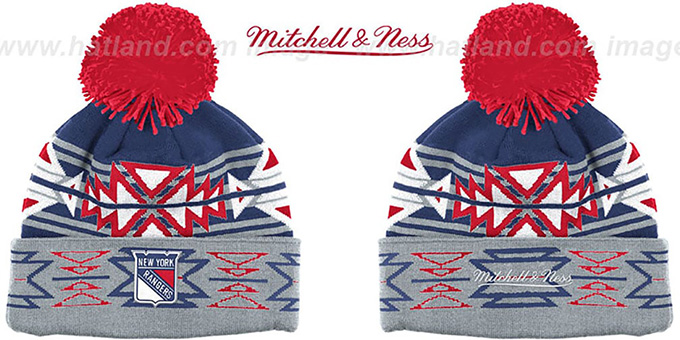 NY Rangers 'GEOTECH' Knit Beanie by Mitchell and Ness : pictured without stickers that these products are shipped with