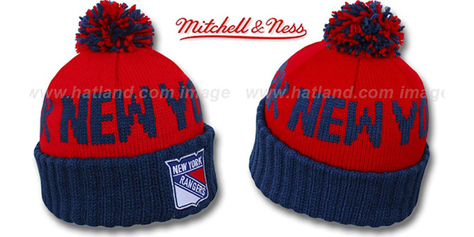 NY Rangers 'KNIT BEANIE' Red-Navy Knit Hat by Mitchell and Ness : pictured without stickers that these products are shipped with