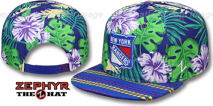 NY Rangers 'LANIKAI SNAPBACK' Hat by Zephyr : pictured without stickers that these products are shipped with