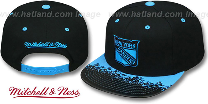 NY Rangers 'NEON-LAVA SNAPBACK' Black-Blue Hat by Mitchell and Ness : pictured without stickers that these products are shipped with
