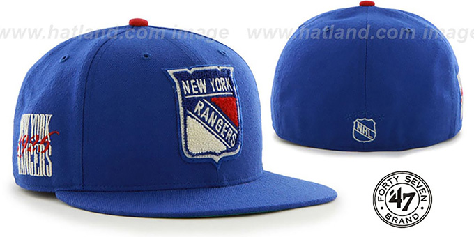 NY Rangers 'NHL CATERPILLAR' Royal Fitted Hat by 47 Brand : pictured without stickers that these products are shipped with