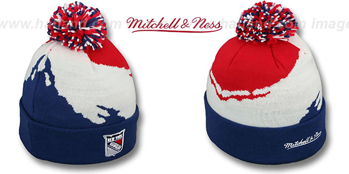 NY Rangers 'PAINTBRUSH BEANIE' by Mitchell and Ness : pictured without stickers that these products are shipped with