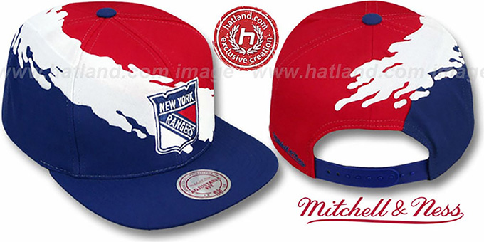 NY Rangers 'PAINTBRUSH SNAPBACK' Red-White-Navy Hat by Mitchell & Ness : pictured without stickers that these products are shipped with