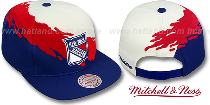 NY Rangers 'PAINTBRUSH SNAPBACK' White-Red-Navy Hat by Mitchell & Ness : pictured without stickers that these products are shipped with