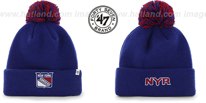 NY Rangers 'POMPOM CUFF' Royal Knit Beanie Hat by Twins 47 Brand : pictured without stickers that these products are shipped with