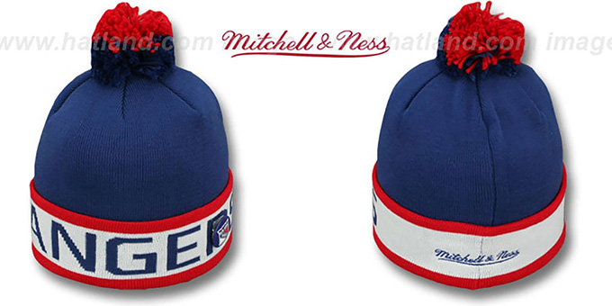 NY Rangers 'THE-BUTTON' Knit Beanie Hat by Michell & Ness : pictured without stickers that these products are shipped with