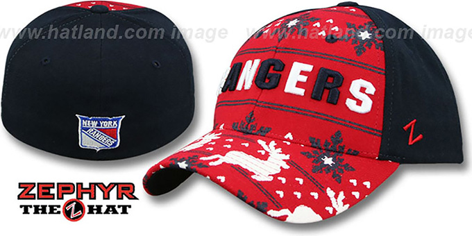 NY Rangers 'UGLY SWEATER FLEX' Navy-Red Hat by Zephyr : pictured without stickers that these products are shipped with