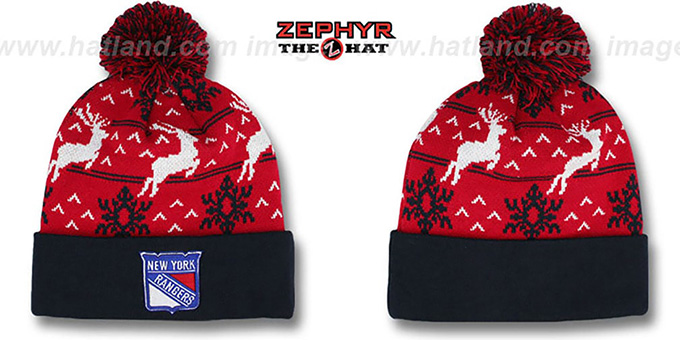 NY Rangers 'UGLY SWEATER' Navy-Red Knit Beanie Hat by Zephyr : pictured without stickers that these products are shipped with