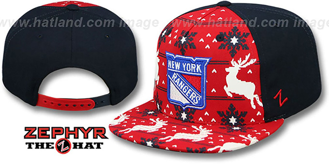 NY Rangers 'UGLY SWEATER SNAPBACK' Navy-Red Hat by Zephyr : pictured without stickers that these products are shipped with