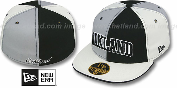 Oakland 'PINWHEEL-CITY' Black-Grey-White Fitted Hat by New Era : pictured without stickers that these products are shipped with