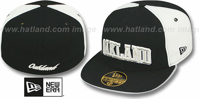 Oakland 'PINWHEEL-CITY' Black-White-Black Fitted Hat by New Era : pictured without stickers that these products are shipped with