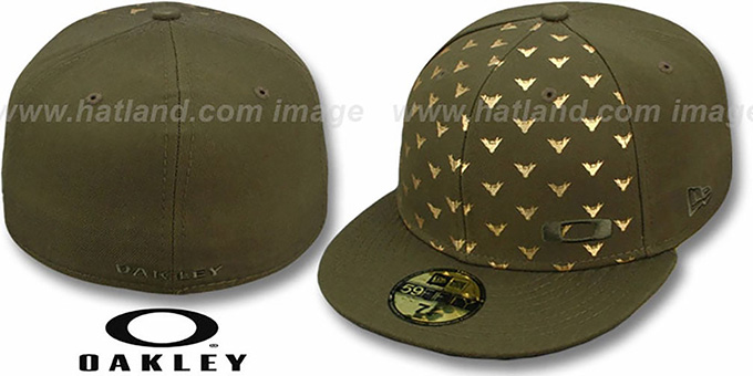 Oakley 'REPEAT WING' Olive Fitted Hat by New Era : pictured without stickers that these products are shipped with