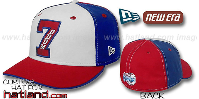 Odom 'PINWHEEL' White-Royal-Red Fitted Hat by New Era : pictured without stickers that these products are shipped with