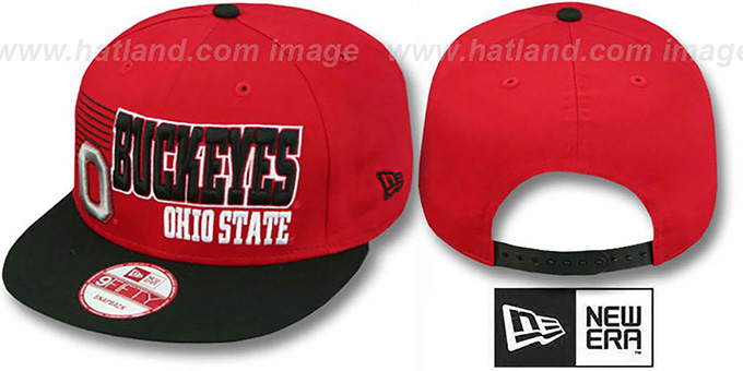 Ohio State '2T BORDERLINE SNAPBACK' Red-Black Hat by New Era : pictured without stickers that these products are shipped with