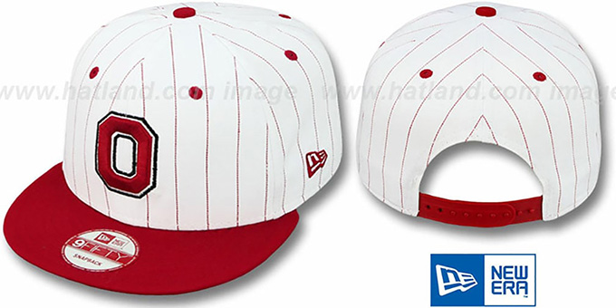Ohio State 'PINSTRIPE BITD SNAPBACK' White-Red Hat by New Era : pictured without stickers that these products are shipped with