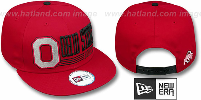 Ohio State 'RETRO-SNAPBACK' Red Hat by New Era : pictured without stickers that these products are shipped with