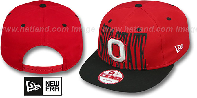 Ohio State 'STEP-ABOVE SNAPBACK' Red-Black Hat by New Era : pictured without stickers that these products are shipped with