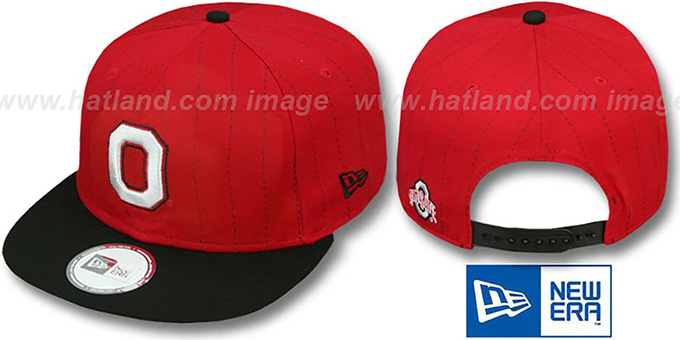 Ohio State 'TEAM-BASIC PINSTRIPE SNAPBACK' Red-Black Hat by New Era : pictured without stickers that these products are shipped with