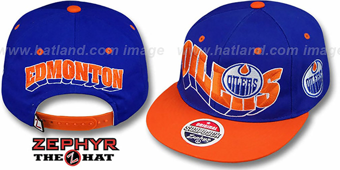 Oilers '2T FLASHBACK SNAPBACK' Royal-Orange Hat by Zephyr : pictured without stickers that these products are shipped with