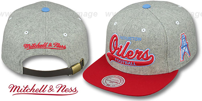 Oilers '2T TAILSWEEPER STRAPBACK' Grey-Red Hat by Mitchell & Ness : pictured without stickers that these products are shipped with