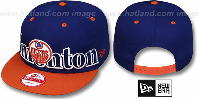 Oilers 'BIG CITY PUNCH SNAPBACK' Royal-Orange Hat by New Era : pictured without stickers that these products are shipped with