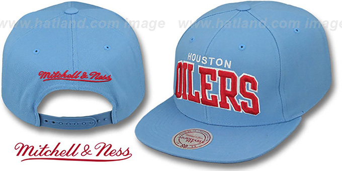 Oilers 'BLOCK-ARCH SNAPBACK' Sky Hat by Mitchell & Ness : pictured without stickers that these products are shipped with