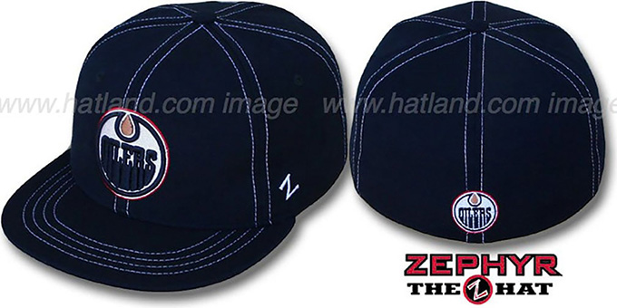 Oilers 'CONTRAST THREAT' Navy Fitted Hat by Zephyr : pictured without stickers that these products are shipped with