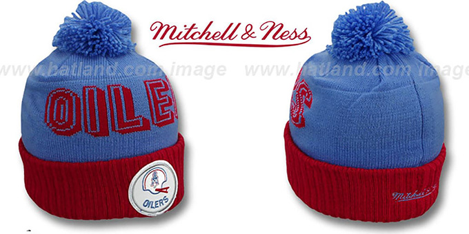 Oilers 'CUFF BEANIE-2' Sky-Red Knit Hat by Mitchell and Ness : pictured without stickers that these products are shipped with