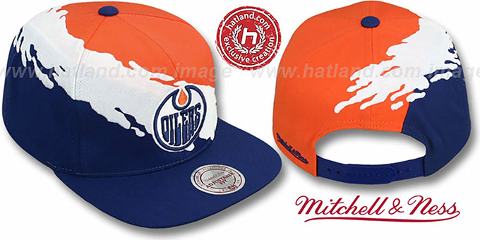 Oilers 'PAINTBRUSH SNAPBACK' Orange-White-Navy Hat by Mitchell & Ness : pictured without stickers that these products are shipped with