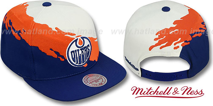 Oilers 'PAINTBRUSH SNAPBACK' White-Orange-Navy Hat by Mitchell & Ness : pictured without stickers that these products are shipped with