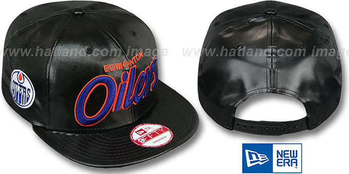 Oilers 'REDUX SNAPBACK' Black Hat by New Era : pictured without stickers that these products are shipped with