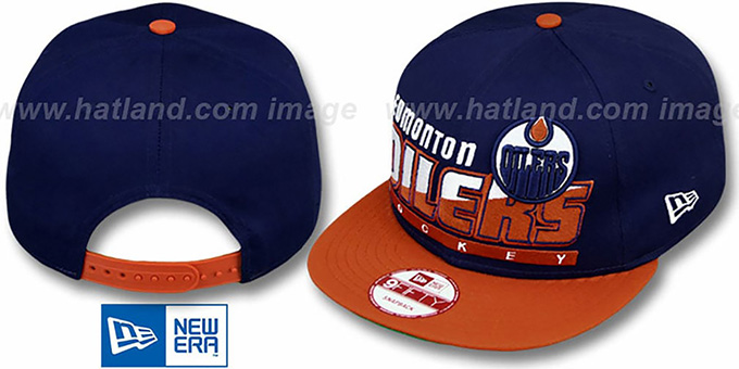Oilers 'SLICE-N-DICE SNAPBACK' Navy-Orange Hat by New Era : pictured without stickers that these products are shipped with