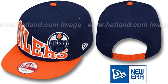 Oilers 'STOKED SNAPBACK' Navy-Orange Hat by New Era : pictured without stickers that these products are shipped with