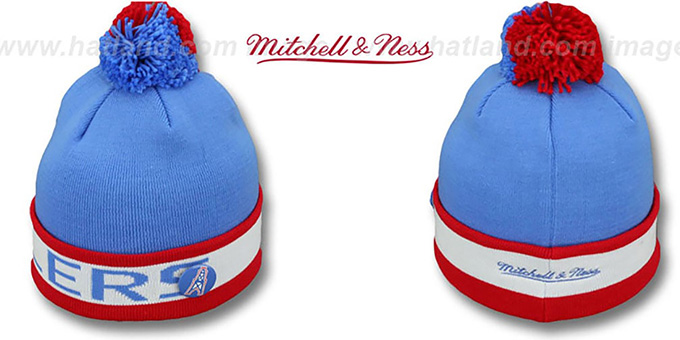 Houston Oilers THE-BUTTON Knit Beanie Hat by Michell and Ness 8f54a9ead
