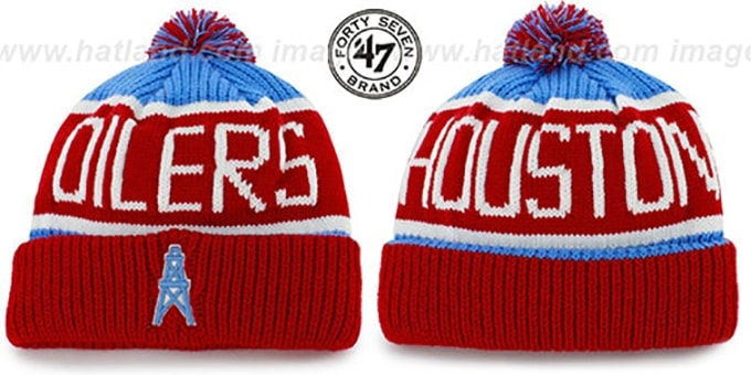 Oilers 'THE-CALGARY THROWBACK' Red-Sky Knit Beanie Hat by Twins 47 Brand : pictured without stickers that these products are shipped with