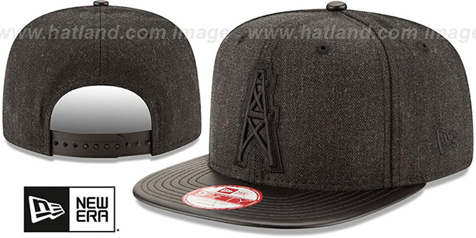Oilers 'THROWBACK LEATHER-MATCH SNAPBACK' Black Hat by New Era : pictured without stickers that these products are shipped with