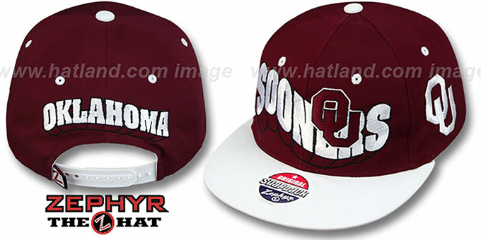 Oklahoma '2T FLASHBACK SNAPBACK' Burgundy-White Hat by Zephyr : pictured without stickers that these products are shipped with