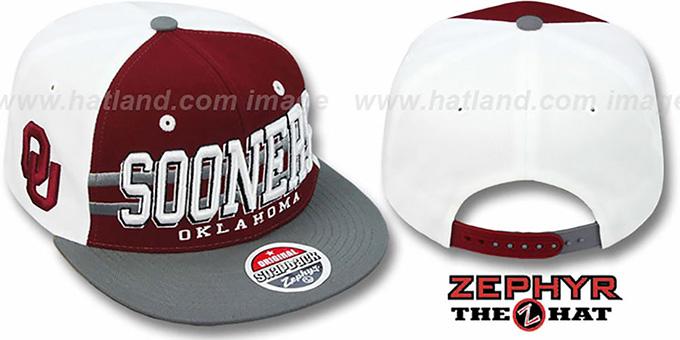 Oklahoma '2T SUPERSONIC SNAPBACK' Burgundy-Grey Hat by Zephyr : pictured without stickers that these products are shipped with