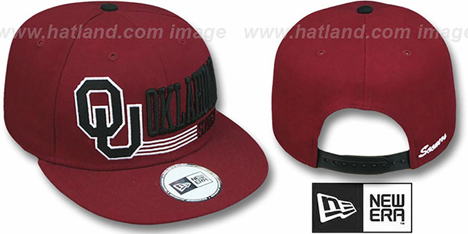 Oklahoma 'RETRO-SNAPBACK' Burgundy Hat by New Era : pictured without stickers that these products are shipped with