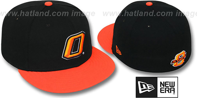 Oklahoma State '2T NCAA-BASIC' Black-Orange Fitted Hat by New Era : pictured without stickers that these products are shipped with