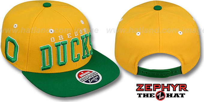 Oregon '2T SUPER-ARCH SNAPBACK' Gold-Green Hat by Zephyr : pictured without stickers that these products are shipped with