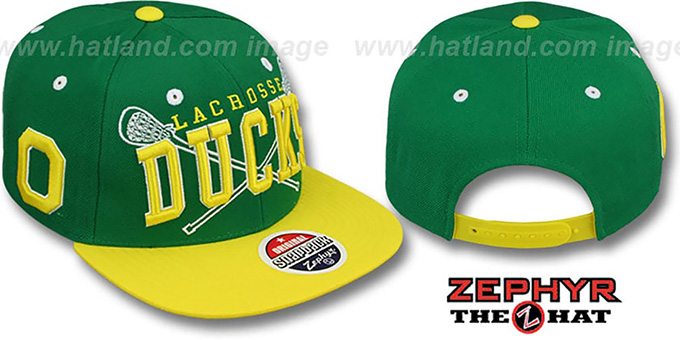 Oregon 'LACROSSE SUPER-ARCH SNAPBACK' Green-Yellow Hat by Zephyr : pictured without stickers that these products are shipped with