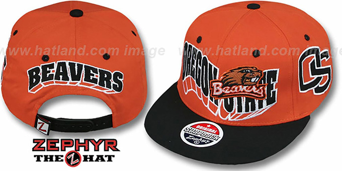 Oregon State '2T FLASHBACK SNAPBACK' Orange-Black Hat by Zephyr : pictured without stickers that these products are shipped with