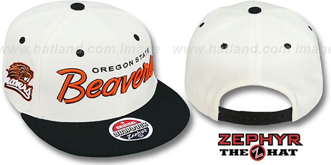 Oregon State '2T HEADLINER SNAPBACK' White-Black Hat by Zephyr : pictured without stickers that these products are shipped with