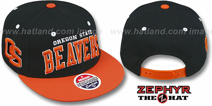 Oregon State '2T SUPER-ARCH SNAPBACK' Black-Orange Hat by Zephyr : pictured without stickers that these products are shipped with