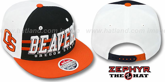 Oregon State '2T SUPERSONIC SNAPBACK' Black-Orange Hat by Zephyr : pictured without stickers that these products are shipped with
