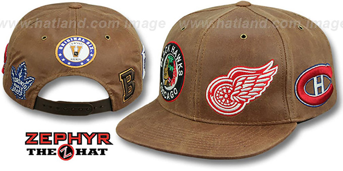 Original-6 'DYNASTY LEATHER SNAPBACK' Brown Hat Zephyr : pictured without stickers that these products are shipped with