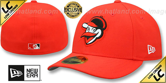 Orioles '1955-62 LOW-CROWN VINTAGE' Orange Fitted Hat by New Era : pictured without stickers that these products are shipped with