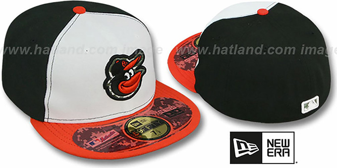 Orioles '2012 STARS N STRIPES' White-Black-Orange Hat by New Era : pictured without stickers that these products are shipped with